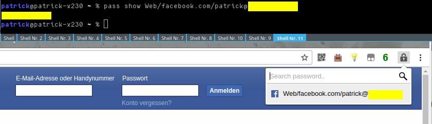 Pass-Nutzung in der Kommandozeile und Facebook-Login mit Browserpass